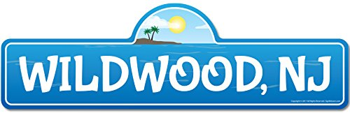Wildwood, NJ New Jersey Beach Street Sign | Indoor/Outdoor | Surfer, Ocean Lover, Décor for Beach House, Garages, Living Rooms, Bedroom | Signmission Personalized Gift