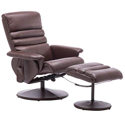 Mcombo Electric Faux Leather Recliner Chair and Ottoman Swivel Gaming Massage Chair with Wrapped Base Remote Control, Swivel Seat 7902 (Dark Brown)