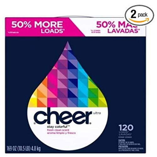 Cheer Ultra Fresh Clear Laundry Detergent Powder, 169 Ounce (2 Packs)