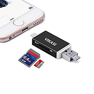 VIKASI SD Card Reader, Micro SD USB Memory Card Reader Adapter Viewer for iPhone iPad Android Mac - Supports Lightning Micro USB OTG 3 in 1(Black)