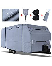 Fonzier 210D Travel Trailer RV Cover, Anti-UV Ristop Camper Cover for 20.1-22ft Motorhome with Tongue Jack Cover