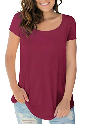 (Sousuoty Women's Spring Fitted Soft T Shirt Short Sleeve Crew Neck Tops Wine XL)