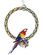 Andiker Huśtawka z ptakiem, klatka, linka bawełniana, huśtawka odporna na gryzienie, boisko papugi, zabawka redukująca nudę do papugi falistej, mała, 18 cm