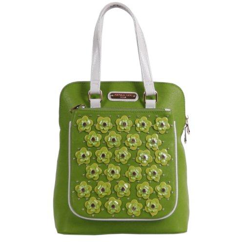 Nicole Lee Makenzie Floral Encrusted Beads Backpack Purse, Green, One Size (Laptop Backpack Nicole Lee)