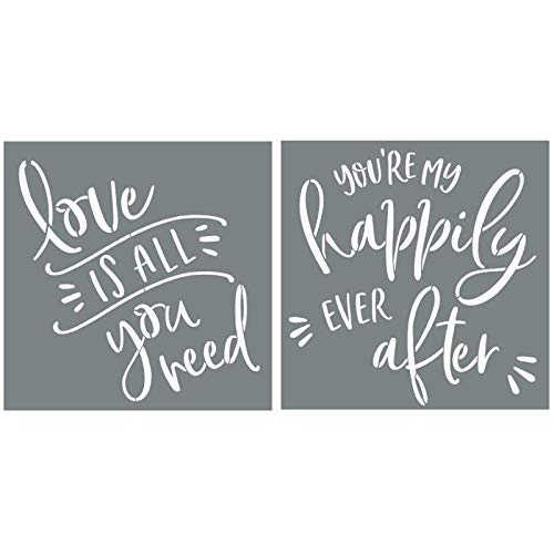 I like that lamp Love Stencil Set for Making DIY Wedding Signs + DIY Wall Decor – Set of 2 Reusable Love Stencils for Making Beautiful DIY Wedding Decor and -