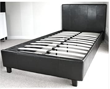 3ft Dark Brown Faux Leather Single Bed Frame By Bedsandbeds Amazon