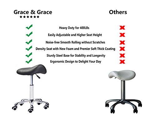 Grace & Grace Professional Saddle Stool Series Hydraulic Swivel Comfortable Ergonomic with Heavy Duty Metal Base for Clinic Dentist Spa Massage Salons Studio (Black) by Grace & Grace (Image #1)