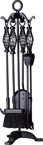 'Spiral Hall' All Black 68.5cm Tall Traditional Fireside Tools Companion Set Black Country Metal Works