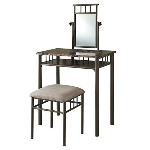 Bronze Metal and Cappuccino Marble Vanity Set, 2-Piece ()