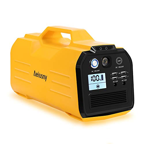 Aeiusny 400W Solar Generator Portable Power Station, 296Wh CPAP Backup Lithium Battery, 110V Pure Sinewave AC Outlet, 12V DC Output, USB Output Power Supply for Camping/Travel/Fishing/Hurricane