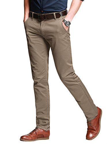 Match Men's Fit Tapered Stretchy Casual Pants (29W x 31L, 8106 Light khaki) - 31 Three Light