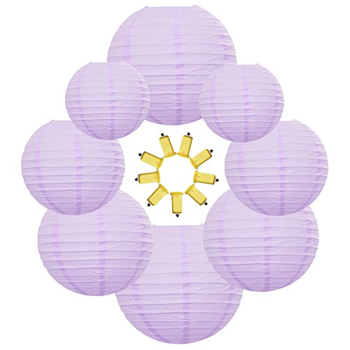 Neo LOONS Light Lavender Round Chinese/Japanese Paper Lanterns Metal Framed Hanging Lanterns-- Assorted Sizes--Birthday/Wedding/Christmas/Ceiling Party Supplies Favors Hanging Decoration from NEO LOONS