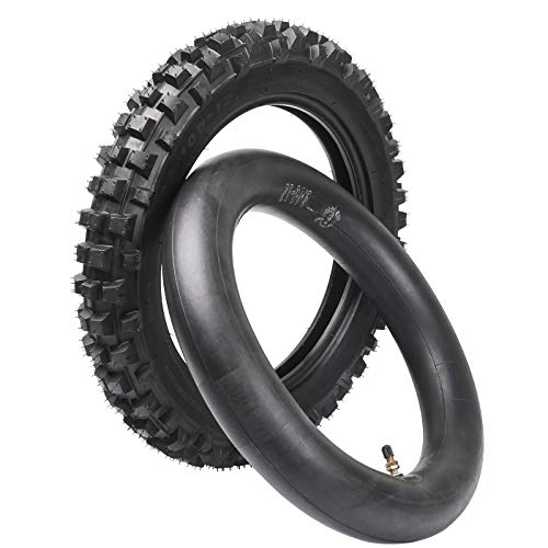 - ZXTDR 80/100-12 Knobby Rear Tire & Inner Tube for Off Road Dirt Pit Bike 3.00-12