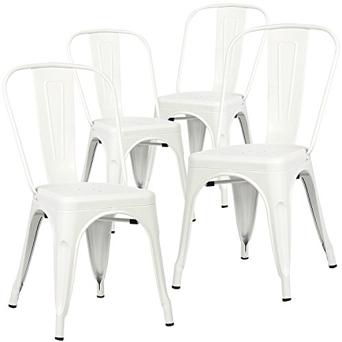 Polar Aurora Set of 4 Tolix Style Dining Side Chair Stackable Bistro Cafe Metal Vintage (White)