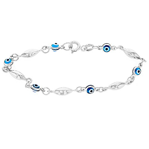 Solid 14k White Gold Blue Evil Eye Baby Bracelet 5.5'' by Evil Eye by Jewelry America