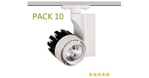 Foco de Carril LED 30W Monofásico G8001 (PACK 10) Luz Cálida 3000K Lúmenes 3000lm: Amazon.es: Iluminación