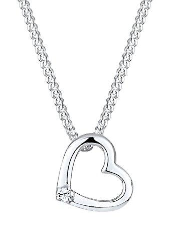 Elli Damen-Kette mit Anhänger Herz 925 Sterling Silber Swarovski Kristall weiß Brillantschliff 0106171412_45