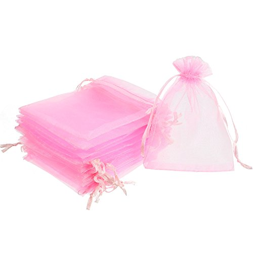 Mudder 50 Pack Organza Gift Bags Wedding Party Favor Bags Jewelry Pouches Wrap, 4 x 4.72 Inches (Pink)]()