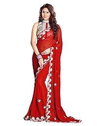 Mirchi Fashion Faux Georgette Zari Work Indian Traditional Wear Saree for Women
