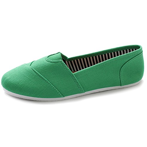 Ollio Women's Shoe Slip on Sneaker Canvas Flat ML031(8.5 B(M) US, Green) -