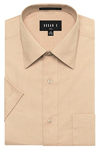 (URBAN K Men's Classic Fit Solid Formal Collar Short Sleeve Dress Shirts Regular & Plus Size, Ubk-khaki, 5XL/21-21.5 N)