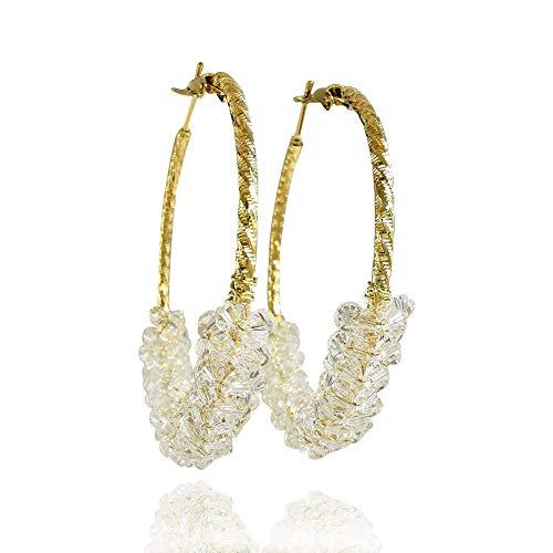 - Beaded Drop Earrings Handmaded Glass Bead Round Dangle Earrings Fashion Vintage Round Circle Statement Hoop Earring Studs for Women Girls