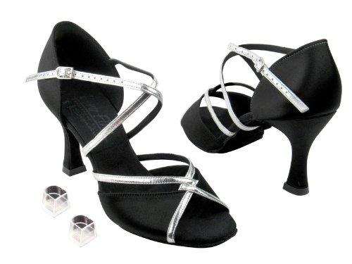 Zapatos De Salón De Baile De Mujer De Las Señoras Muy Fino Eks92318 Firma De 3 Talones Con Protector De Talón De Satén Negro Y Borde De Plata