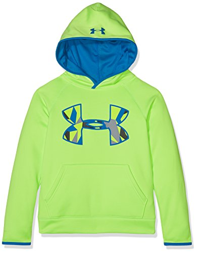 Under Armour Boys' Armour Fleece Big Logo Hoodie,Quirky Lime (753)/Cruise Blue, Youth X-Small All Over Logo Hoody