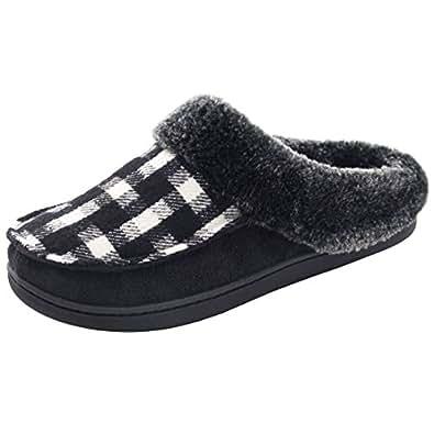 Women's Comfy Wool Plush Fleece Slip On Memory Foam Clog House Slippers w/Plaid Upper Indoor, Outdoor Sole House Shoes (Women 5-6(Aus), Black)