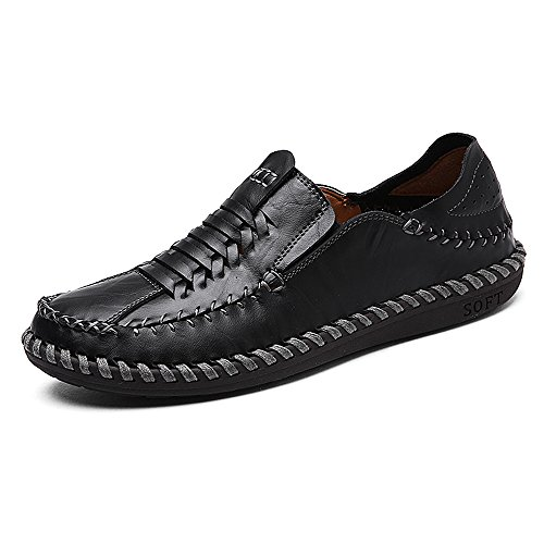 Men's Work for Eastlion On Deck Casual Slip Black Boat Shoes Loafer Shoes and Leather ZCxdCqwg