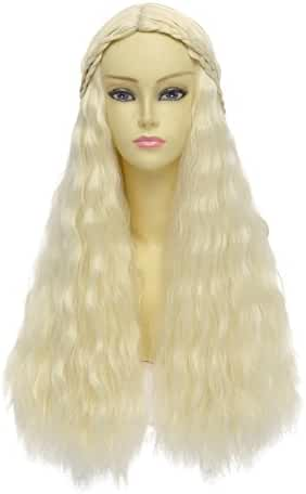 HH Building Cosplay Wig for Game of Thrones Daenerys Targaryen khaleesi Long Curly Hair (Beige)