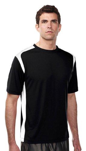 Tri-Mountain Blitz Crew Wicking Short Sleeve T-Shirt, 3XLT, BLACK/WHITE