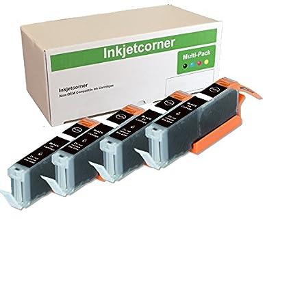 Amazon.com: inkjetcorner 4 unidades negro cartucho de tinta ...