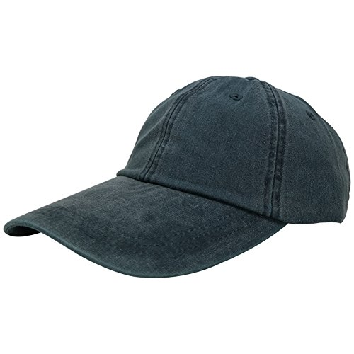 wpsportswear Sunbuster Extra Long Bill 100% Washed Cotton Cap With Leather Adjustable Strap - Navy ()