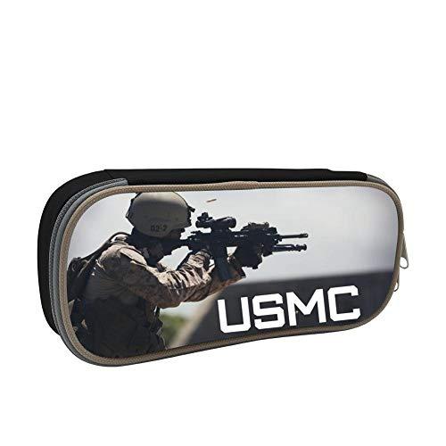 Unique Student Office Pencil Case USMC Strength Print Pen Box Casual Makeup Bag