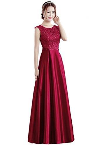Dress for Burgundy Evening Scoop Women's BessWedding Length Dress Prom Wedding Floor FUFz7qw