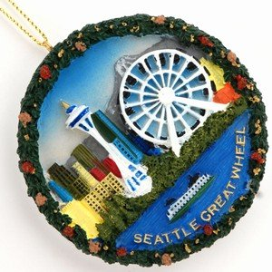 Seattle Christmas Ornament Great Wheel Round Poly Ornament Includes Copyrighted Seattle (Ornament Magnet)