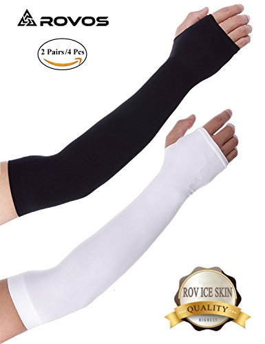 ROVOS Sports Cooling Arm Sleeves Unisex Sun Block UV Protection Cooler Band Protective Hands Arm Cover Long Arm Sleeve Glove for all Outdoor Activities Skin Protection 2 Pairs (Black and White) by ROVOS