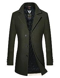 Retrograder Mens Fashion Wool Overcoat Winter Thicken Button Long Outwear Jacket