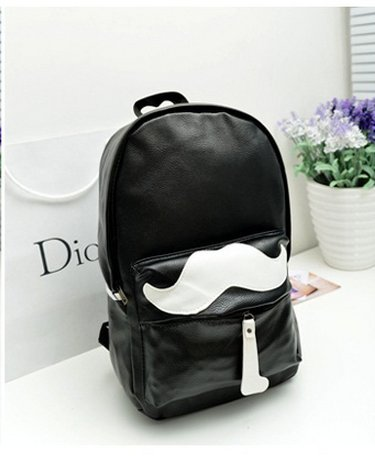 Funky Fashion Cool Moustache Patterned PU Leather Leisure Backpack Unisex  Boys And Girls Casual Daypack Hot Backpack PU Leather Moustache Patterned  Travel ... 6aa2d3e718870
