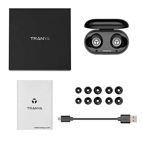 TRANYA Bluetooth 5.0 Deep Bass True Wireless Headphones Built-in Microphone, T2 Sports Wireless Earbuds, 40 Hours Playtime, IPX 5 Sweat Proof Earphones, Gift Box