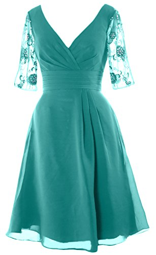 Sleeves Dress Dress Half MACloth Neck Bride Turquoise Cocktail V the Mother Short of Women YUqY7wx5E