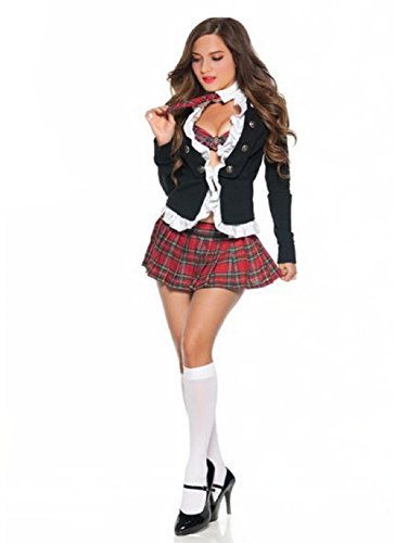 JJ-GOGO Adult Naughty School Girl Costume Sexy 4 Piece Student Uniform Set