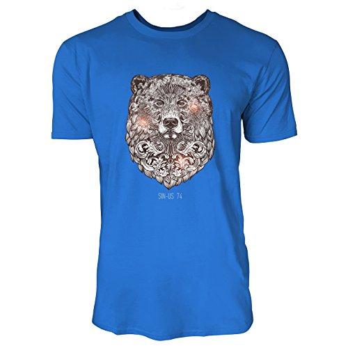 SINUS ART ® Bärenkopf im orientalischen Stil Herren T-Shirts in Blau Fun Shirt mit tollen Aufdruck