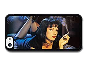 MMZ DIY PHONE CASEPulp Fiction Uma Thurman with Black Dress Smoking on the Bed case for ipod touch 5