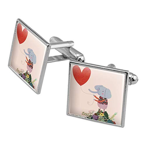 (Graphics and More Cute Elephant Holding a Heart Shaped Balloon Square Cufflink Set Silver Color)