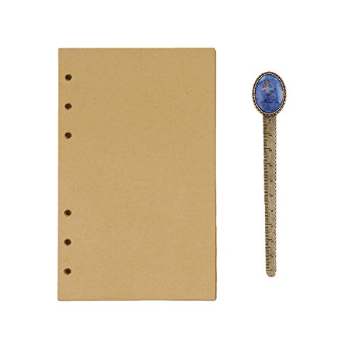 Spiral Chipboard Album - 6 Ring Refillable Paper A6 Size Lined/Blank/Kraft Paper 100 Sheets for Portfolio Notepad, Spiral Bound Notebook, Travel Jounral Diary Inserted Page