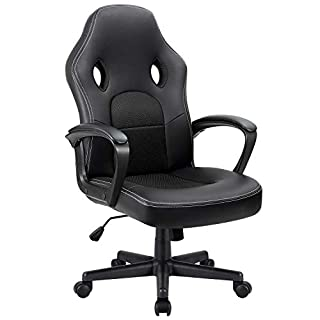 Furmax Office Desk Leather Gaming, High Back Ergonomic Adjustable Racing Task Swivel Executive Computer Chair Headrest and Lumbar Support (Black)