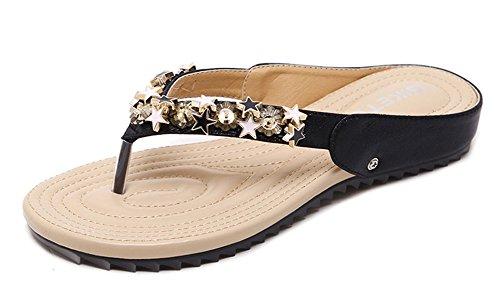 Aisun Women's Trendy Split Toe Flat Mule Sandals Black awIfNm37