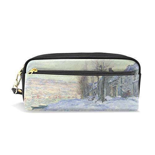 (Pencil Case Pen Bag Claude Monet's Lavacourt Under Snow Stationery Pouch Cosmetic Makeup Wristlets Bag Zipper)